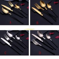 Wholesale stainless steel steak knives for sale - Group buy NEW Stainless Steel Knife and Fork Spoon Plating Gold Dumb Light Hotel West Tableware Steak Knife and Fork