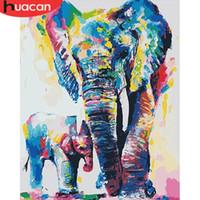 figura simple pintura al por mayor-Huacan imagen por números animales de la pintura de DIY por los kit de elefante pared del arte pintado a mano para la decoración casera sin marco