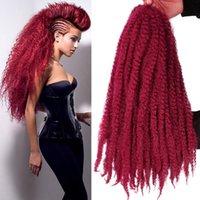 afro kinky curl saç uzantıları toptan satış-Sıcak! Marley Örgüler Saç Afro Kinky Kıvırcık Marley Kıvırmak Büküm Örgü Saç Uzantıları Kanekalon Sentetik Büküm Tığ Saç 18 Inç Ombre Renk