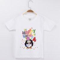 pinguin oben großhandel-2019 pinguin Kleidung Geburtstag T-shirt Baumwolle Kinder Tops Mädchen Kurzarm Kinder Kleidung Jungen Baby T-shirts Benutzerdefinierte T-shirt J190529