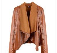 ingrosso chiusura lampo rivetti giacca-02 Nuovi rivetti da donna decorati Slim doppia risvolto chic semplice piccola giacca di pelle con cerniera
