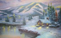 Wholesale scenery decor for sale - Group buy Thomas Kincaid Mountain scenery after snow Home Decor Handpainted HD Print Oil Painting On Canvas Wall Art Canvas Pictures