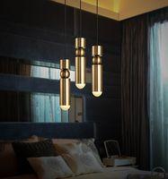 tek fikstür toptan satış-Modern LED Kolye Işık Bar Mutfak Için Altın Metal Işık Fikstür Oturma Odası Dekoratif Asılı Lamba Yemek Için Tek Kafa