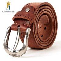 piel genuina al por mayor-FAJARINA Marca de Calidad de Rayas Cinturones de Cuero Genuinos de los hombres de moda Hombre Pin Hebilla Cinturones para Hombres Cinturón de Piel de Vaca N17FJ300