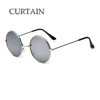 cortinas clásicas al por mayor-CORTINA Nuevo diseñador de la marca Gafas de sol redondas clásicas Hombres Vintage Retro John Lennon Gafas Mujer Conducción Gafas de metal -LD032