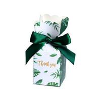 şeker poşetleri toptan satış-Yeşil Şeker Kutuları Bebek Düğün Hediye Kağıt Kutu Hediye Çanta doğum günü partisi Noel Düğün Dekorasyon Malzemeleri Şekeri