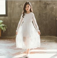 Wholesale boat neckline dresses for sale - Group buy White Lace Princess Dress Korean New Sprint Summer Long Flared Sleeves Beaded Neckline Party Dresses for Big Girls