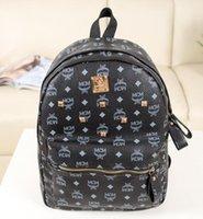корейский мужской сумка оптовых-XXLMCM Панк стиль Рюкзак Мода Мужчины Женщины ранец Корейский стильный мешок плеча высокого класса PU мешок школы