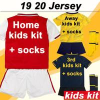venda de uniformes de meninas venda por atacado-19 20 crianças casa kit de Futebol afastado amarelo 3ª manga curta Boy Girl camisas do futebol Uniformes Moda Criança vendas preço de Socks Low