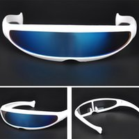 Wholesale masks personalities resale online - Futuristic Narrow Cyclops Sunglasses UV400 Personality Mirrored Lens Costume Eyewear Glasses Funny Party Mask Decoration Unisex