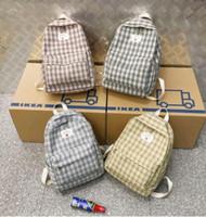 Wholesale backpack korean style men resale online - New Plaid Canvas Women Backpack Korean College Style School Bags For Teenagers Female Travel Backpacks Girls Mochilas