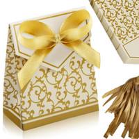 ingrosso decorazioni romantiche di nozze romantiche-Bomboniera con nastro dorato Bomboniera regalo Cuore romantico Scatola di caramelle per decorazioni di nozze Bomboniere vintage Kraft