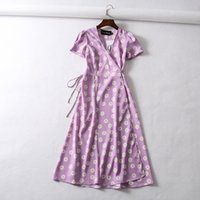 koreanischer strand kleidet ärmel großhandel-Weinleseblumenpunktdruck-Verpackungskleidfrauen schließen Hülsen-Chiffon- Strandkleid koreanisches Vansatz-Partei Midi beiläufiges boho vestidos kurz