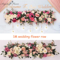Wholesale shopping window display resale online - 2pcs M Road cited artificial flowers row wedding decor flower wall arched door shop Flower Row Window T station Christmas T200103
