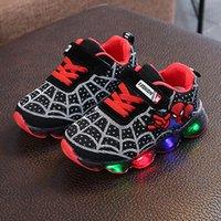 pantoufles taille bébé achat en gros de-Taille UE 21-36 Led Chaussures Bébé Fille Sneakers Garçons Lumineux Sneakers Rougeoyant Lumineux Chaussures Bande Dessinée Pantoufles Panier avec La Lumière
