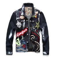 schwarze jeans trendy großhandel-Plus Size M-XXXL Männer Brief Beauty Patches Painted Black Denim Jacke Trendy Multi-Abzeichen Patchwork-Oberbekleidung Jeans Mäntel 2019