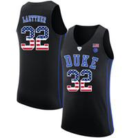 ingrosso pullover di basket usa-Mens Christian Laettner Jersey Custom Duke Blue Devils College Basketball Maglie Moda Bandiera USA di alta qualità cucita taglia S-2XL