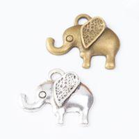 Wholesale bronze 25mm pendants for sale - Group buy 70pcs MM Vintage silver antique bronze elephant charms alloy pendants for bracelet necklace earring diy jewelry making