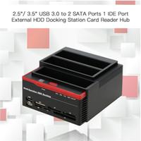 disco duro interno 2.5 al por mayor-HDD Docking estación de doble unidad de disco duro interna de acoplamiento lector de tarjetas de la estación de HDD de 2,5 pulgadas IDE SATA 3.5 Caso HDD SSD USB 3.0