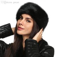 sahte kürk kafa bandı toptan satış-Toptan Satış - Toptan-Bayanlar Faux Fur Hat HeadBand Kış Kulak Isıtıcı Şapka Kayak Saç Bandı Başkanı Kulaklık