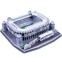 pädagogische papiermodelle großhandel-Klassische Modelle 3D Puzzle Santiago Bernabeu Wettbewerb Fußballspiel Stadien DIY Brick Lernspielzeug Skala Sets Papier