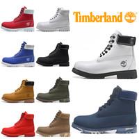 açık ayakkabı botları toptan satış-Timberland Erkekler Kadınlar Için Çizmeler Tasarımcı Kış Çizme Askeri Mavi Üçlü Siyah Yeşil Moda Erkekler Trainer Yürüyüş Açık Ayakkabı Sneaker