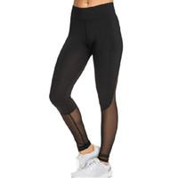 pantalones de yoga de gasa al por mayor-Lado remiendo de la gasa de Hip-elevación de yoga pantalones para la aptitud del ejercicio atlético de nueve minutos de los pantalones profesionales