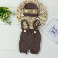 ingrosso ragazza neonata foto outfits-Lovely Newborn Baby infant Girls cute Boys Uncinetto Knit Costume Photo Photography Prop Pant con cappello Outfit vestiti 0-4M Baby @ 35