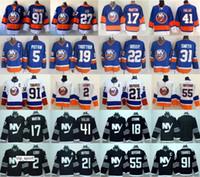 nouveaux maillots de hockey sur glace noirs achat en gros de-New York Islanders Hockey Jerseys Ice 2 Nick Leddy 17 Matt Martin 13 Mathew Barzal Jaroslav Halak Johnny Boychuk Bleu Blanc Noir