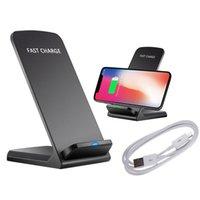 ingrosso basamento del caricatore del bacino di iphone-Caricabatterie wireless Qi da 10 W per Samsung S9 S8 S7 Nota 9 8 Supporto rapido Dock Staffa di ricarica per iPhone XS Caricabatterie USB XR X 8 Plus