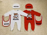 Wholesale baby clothing set winter resale online - Baby Clothes Romper Newborn Boys Girls Clothes Brand Tag Long Sleeves Baby Jumpsuit Infant Jumpsuit Bib Hat Set