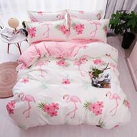 постельное белье оптовых-HOT Sale Fashion  pink flamingos Cartoon Printing Double king queen Pattern Bedding sets Duvet cover Flat sheet 30