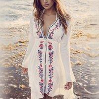 kaufen sommerkleider großhandel-heißer Sommer-Frauen-Stickerei-Retro- Bikini-langärmliges Blusen-Strand-Rock-Art- und Weisefeiertags-Strand-Rock-loses Kleid YS-BUY