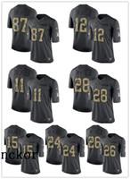 jersey des patriotes noirs achat en gros de-HOMMES FEMMES JEUNES 26 Sony Michel 12 Tom Brady 10 Josh Gordon Limited Maillot de Football Patriots Noir 2016 Salut to Service
