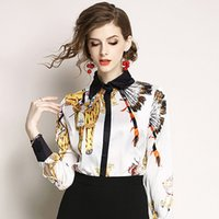 Wholesale linen patterns dresses for sale - Group buy Niche Design Suit dress Spring Xiatongqin New Pattern Lapel Long Sleeve Printing Shirt Ma am Shirt