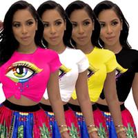 sudadera de ojos grandes al por mayor-Labios coloridos Impresión de ojos grandes Diseño de camiseta para mujer Camiseta de manga corta de verano Casual Color del caramelo Sudadera con cuello redondo Camiseta Fashin Tops C5603