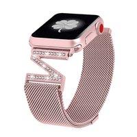 apple watch milanese loop al por mayor-Milanese Loop Bracelet Diamond strap Para Apple Watch band 38mm 42mm 40mm 44mm iwatch series 1/2/3/4 Correa de acero inoxidable para mujer