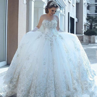2019 New Luxury Ball Gown Wedding Dresses Sweetheart Lace 3D-Floral Appliques Backless Sleeveless Sweep Train Custom Formal Bridal Gowns