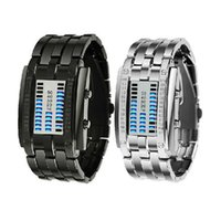 reloj binario led de acero al por mayor-Reloj de pulsera portátil binario digital del reloj mujeres de los hombres unisex de acero inoxidable negro de la fecha del LED relojes deportivos pulsera
