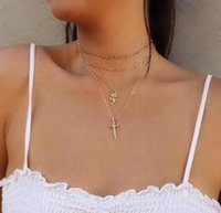 Wholesale platinum necklace cross for sale - Group buy 19 styles Trendy Bohemian Choker Necklace For Women Gold Color Link Chain Cross Rose Pendant Necklace Female Party Jewelry ALXY01