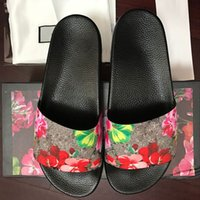 38f96e42a Mens Designer Shoes Rubber Slides Sandals Blooms Red Womens Shoes Beach  Stripe Flip Flops Slippers Flower Box Duty Bag Big Size 13