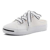 тапочки оптовых-Небольшие белые холст женские туфли 2019 летние новые ленивые полутапочки лето пункт один фут ткань обувь чистая красная дикий прилив обуви