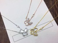 pérolas de pingente de borboleta venda por atacado-Moda estilo Lady 925 prata 18K banhado a ouro colar com madrepérola diamante borboleta pingente de sorte