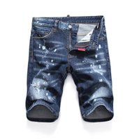 самые короткие джинсовые шорты оптовых-Новые 2019 Мужские джинсовые рваные шорты Джинсы Ночной клуб синие Хлопковые модные плотные летние мужские брюки A8054