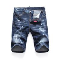 mavi dar pantolon toptan satış-Yeni 2019 Erkekler Denim Yırtılma şort Kot Gece kulübü mavi Pamuk moda Sıkı yaz erkek pantolon A8054 PHILIPP PLEIN DSQUARED2 DSQ2 D2