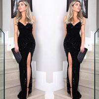 sirène chérie dentelle noire achat en gros de-Sexy Black Lace Mermaid Prom robes pas cher paillettes perles Sweetheart haut côté Split Robes de balches robes élégantes tenues de soirée