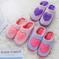 Wholesale home winter flip flop resale online - Fall winter new warm home love warm cotton slippers indoor non slip slippers for men and women