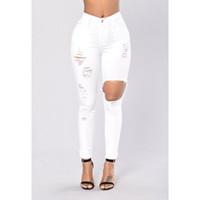 senhoras calças brancas venda por atacado-Skinny Jeans branco Mulher Womens Jeans de cintura alta Denim Ladies Elasitc lápis Jean branco Outono calças compridas calças rasgadas