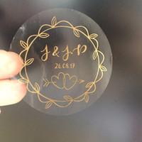 invitación de halloween vintage al por mayor-90 Oro rosa Compromiso de boda de la vendimia Pegatinas de texto personalizado Guirnalda de oliva Recuerdos Favores Etiqueta Invitación envolver sello Y19061704