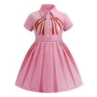 Wholesale lapel dress baby resale online - Retail baby girl dresses embroidered lapel short sleeve cotton pleated skirt dress kids designer clothes children boutique clothing